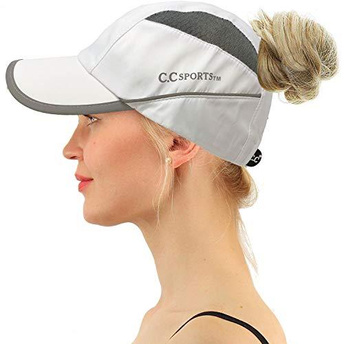 C.C Sports Active Ponytail Messy Buns Ponycaps Baseball Visor Cap Dad Hat (White/Gray)