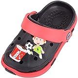 Sandali per bambini con cinturino posteriore mobile, leggeri, per spiaggia, vacanze, estate, piscina, emoji, zoccoli, Nero (Nero e rosso), 33 EU