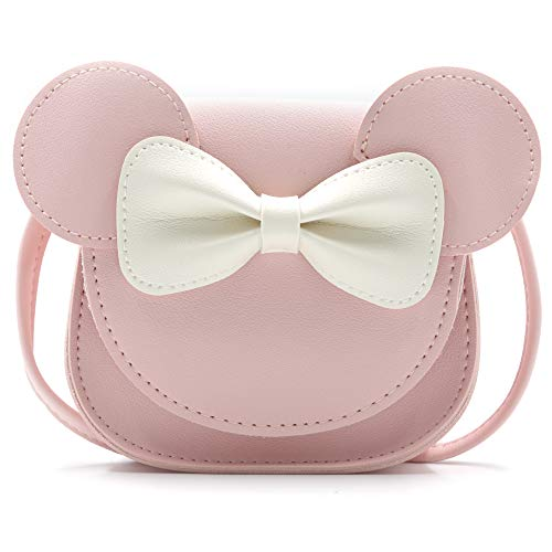 HXQ Little Mouse Ear Bow Crossbody Purse,PU Shoulder Handbag for Kids Girls Toddlers(Pink)