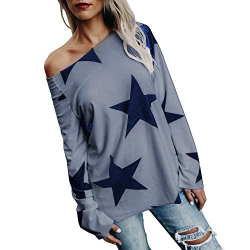 ESAILQ Frauen Mädchen Strapless Star Sweatshirt Langarm Crop Jumper Pullover Tops (M, Grau)