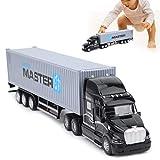 Camión contenedor de aleación, Modelo de vehículo extraíble de Alta simulación para niños Juguete de Metal Fundido a presión con luz de Sonido para niños y niñas(Gris)