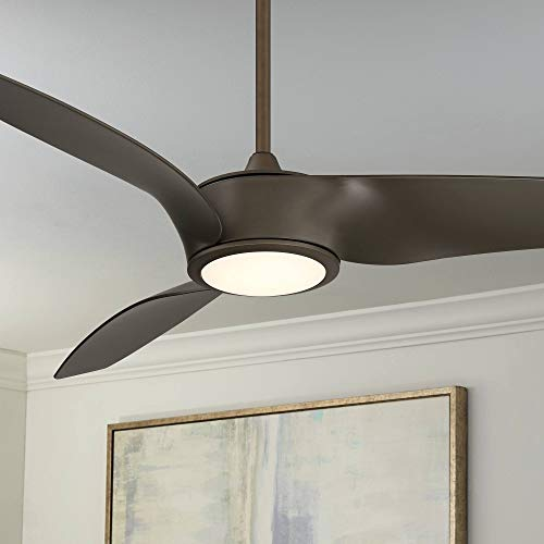 "56"" Casa Como Contemporary Farmhouse 3 Blade Ceiling Fan with Light LED Remote Control Dimmable Oil Rubbed Bronze for House Bedroom Living Room Home Kitchen Family Dining Office - Casa Vieja"