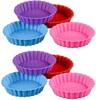 Wents - Moldes de silicona para tartas, mini Quiche, moldes antiadherentes redondos, 8 piezas