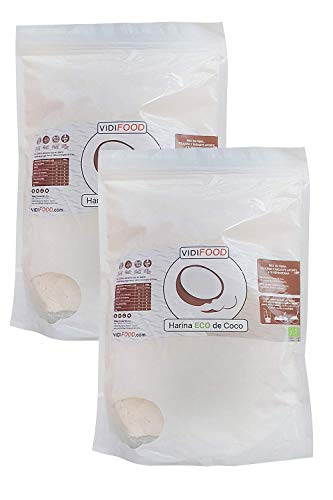 Harina de Coco Ecológica   2kg   Harina Orgánica con Alto contenido de Fibra   Totalmente Natural y sin Gluten