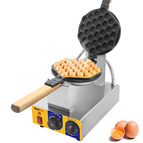 Hanchen Egg Bubble Waffle Maker Hong Kong Eggettes Baker 572℉ Commercial Electric Non-Stick Egg Waffle Iron Maker 110V for Snack Shop, Cafe, School, Home(Cake Size: 7x8in)