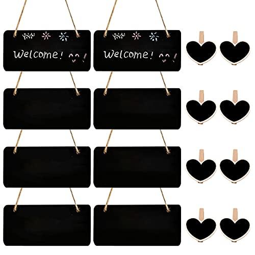 Dzmuero Mini Pizarra Negra Tiza, Pizarra Tiza Pared, Pizarra Bar, Para Colegios, Tiendas, Hogaresy Oficinas, 8 pzs Mini Pizarra + 8 pzs Mini Pizarra en Forma de Corazón