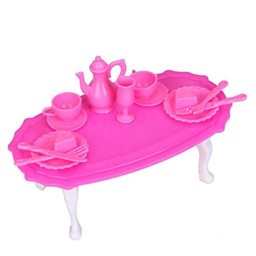 Juego de 13 piezas de mesa de comedor para Barbie Dolls Casa Decoración del Hogar Tazas de Té Platos de Postre Espátula Jarrón Pot Miniatura Rosa