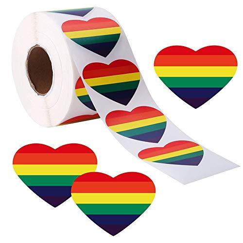 Gay Pride Aufkleber, 500 Stück Liebe Regenbogen LGBT Sticker Farbe Streifen Herzform Rolle Klebeband, herzförmige, für Party Bar Festival Karneval Pride Event 40mmx40mm
