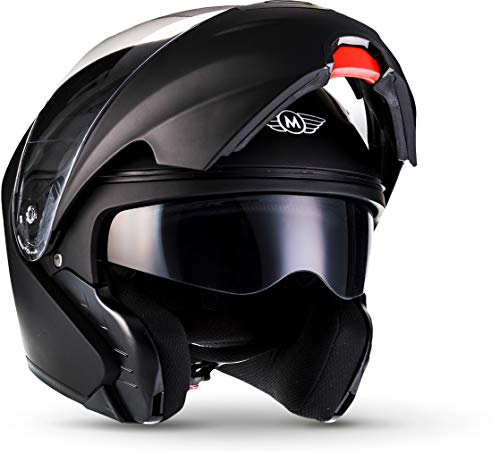 "Moto Helmets® F19 ""Matt Black"" · Motorrad-Helm · Klapp-Helm Modular-Helm Flip-up Integral-Helm Motorrad-Helm Roller-Helm Cruiser · ECE 22.05 Sonnenvisier Schnellverschluss Tasche L (59-60cm)"