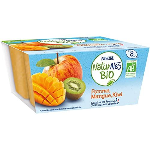 NESTLÉ Naturnes BIO - Purée De Fruits Bébé - Pomme, Mangue, Kiwi - Dès 8 mois - 4x90g
