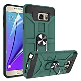 Galaxy Note 5 Case with HD Screen Protector, Atump 360°Rotation Ring Holder Kickstand [Work with Magnetic Car Mount] PC+ TPU Phone Case for Samsung Note 5, Midnight Green