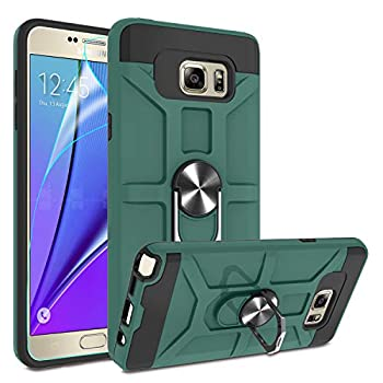 Galaxy Note 5 Case with HD Screen Protector Atump 360°Rotation Ring Holder Kickstand [Work with Magnetic Car Mount] PC+ TPU Phone Case for Samsung Note 5 Midnight Green