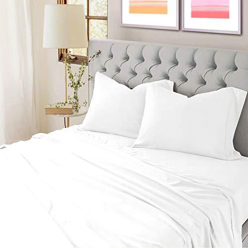 100% Cotton Full Percale Sheet Set- White Sheets- 4 Piece- Oeko Tex...