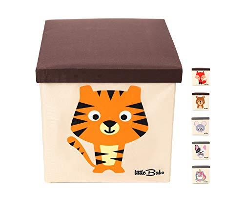 little Babo Kinder Aufbewahrungsbox I Spielzeugkiste mit Deckel für Kinderzimmer I Spielzeug Box (33x33x33) zur Aufbewahrung im Kallax Regal I faltbar, groß und stabil zum sitzen – Tiermotiv Tiger