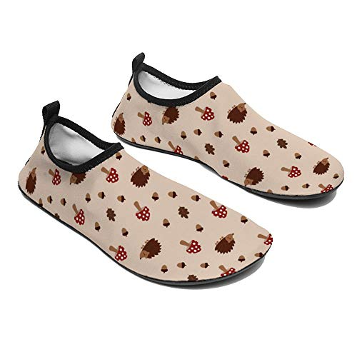 Coolblack1 Unisex Wading Shoes Acorns Mushrooms Hedgehogs and Oak Leaves Autumn Quick Dry Water Socks Barefoot Shoes for Beach Swim Surf Water Park Men 13-14