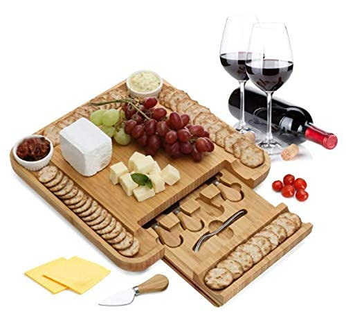 Bamboo Cheese Board 2 Ceramic Bowls 4 Drawers Wood Charcuterie Cutlery Knife Set, 2 Server Forks, Wine Opener, Perfect Gift ideas for Anniversary, Birthdays, Wedding