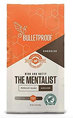 Bulletproof The Mentalist Ground Coffee, Medium Dark Roast, 12 Oz, Keto Friendly, Certified Clean Coffee, Rainforest Alliance, Ground