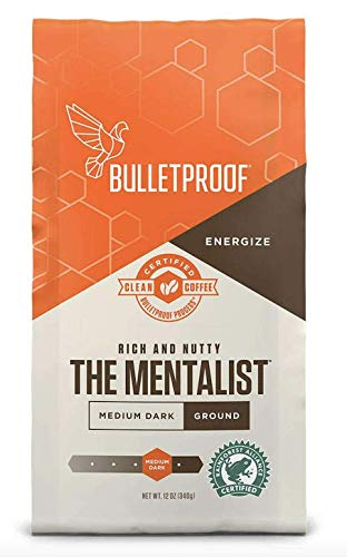 Bulletproof The Mentalist Ground Coffee, Medium Dark Roast, Keto Friendly, Certified Clean Coffee, Rainforest Alliance, Ground, 12 Ounces