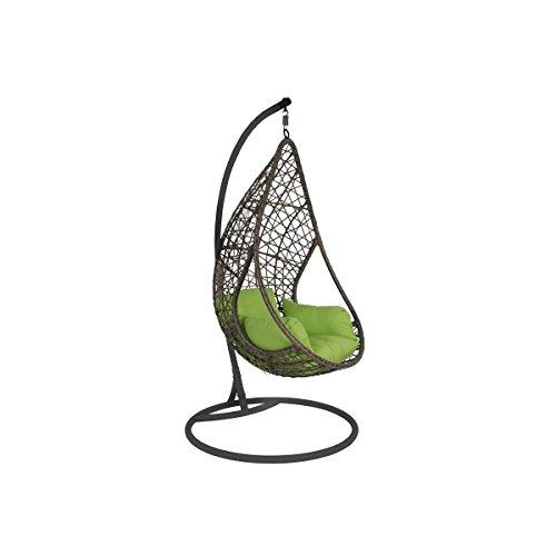 Greemotion Rattan Hängesessel Kuba Gestell Grau-Garten Rattansessel zum Aufhängen-Korbsessel hängend mit Auflage in Grün für Indoor & Outdoor, Braun/anthrazit, 104x104x200 cm