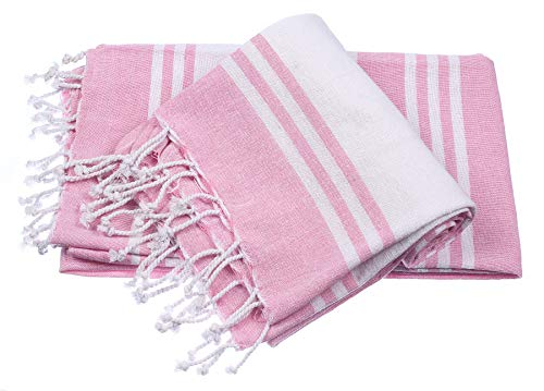 Peshtemal Turkish Super Soft, Pre Washed Beach Towels,Absorbent, Oversized Bath Towel, Towels For Picnic, Beach, Yoga, Pilates, & Everyday Use, Light Weight Easy-to-Carry, 36 x 71 2Pack, Pink