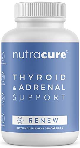 Renew Thyroid Support & Adrenal Support Supplement - 2 in 1 - Boost Metabolism, Focus Formula & Energy Boost - Allergen Free - Vitamin B12, Zinc, Selenium, Ashwagandha, Copper, More - 60 Capsules