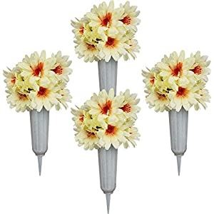 White Daisy Bouquets – Set of 4 White Cemetery Vases with White Artificial Daisy Flowers – Memorial Flowers (White Daisy W/ White Vase, 4)