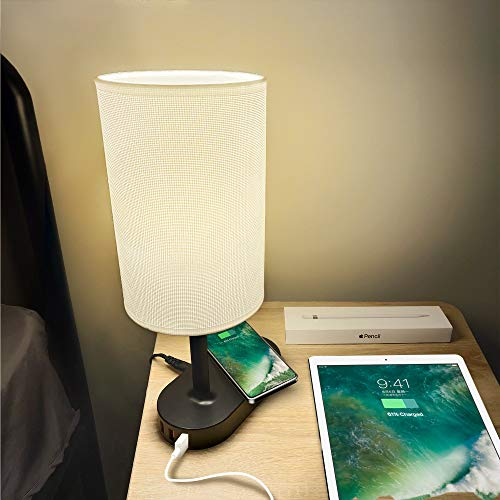 Qi Bedside Lamp COZOO USB Bedside Table & Desk Lamp with 3 USB Charging Ports and Qi Wireless Charging Pad,Black Charger Base with White Fabric Shade,...