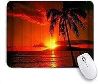 TARTINY ゲーミング マウスパッド,ココナッツの木の夕日パターン印刷,マウスパッド レーザー&光学マウス対応 マウスパッド おしゃれ ゲームおよびオフィス用 滑り止め 防水 PC ラップトップ