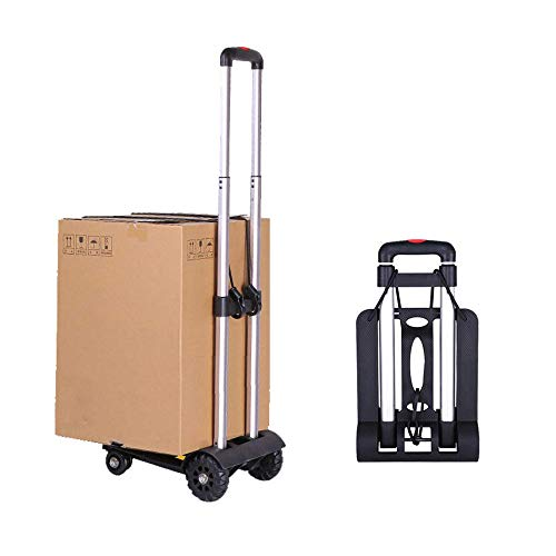 Folding Luggage cart, Sanoto Portable Lightweight Hand Cart Dolly with 4 Wheels for Baggage, Boxes Carrier, 150 lbs Utility Cart for Home and Office Travel Use (Black)
