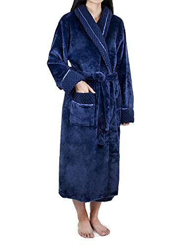 PAVILIA Soft Plush Women Fleece Robe, Blue Navy Cozy Bathrobe, Luxurious Female Long Spa Robe, Satin Waffle Trim, S/M