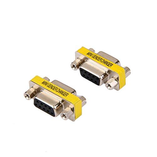 2pcs Hembra De 9 Pines RS232 DB9 Conexión Adaptador Hembra de Línea Compacto Durable