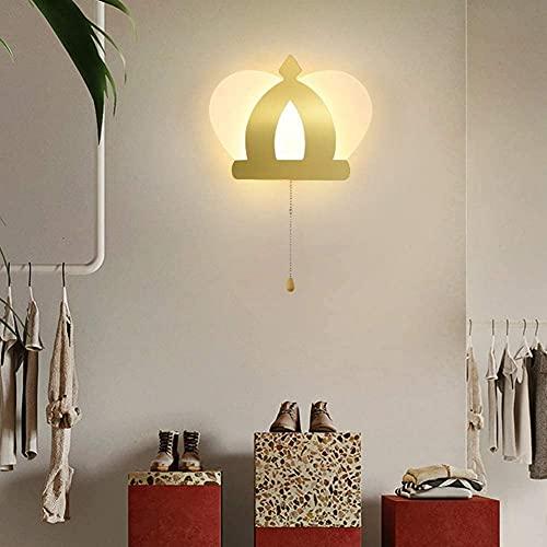 Lámpara de pared moderna para dormitorio infantil, lámpara de pared de corona de dibujos animados creativa con interruptor de cremallera Lámpara de pared LED para interiores lámpara de cabecer
