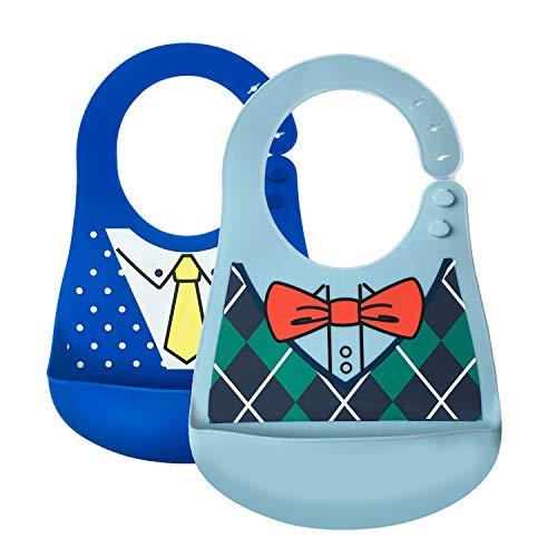 Little Dimsum Bavaglini Bavaglino in silicone impermeabile facile da pulire Morbido comodo bavaglini per neonato (Cravatta a farfalla/Vestito di moda)