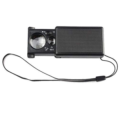 aipipl Lupa portátil, 30 Veces 60 Veces Lupa portátil con luz LED de Tipo tirón, multifunción, reparación de identificación de Joyas, coleccionables de Mano, Lupa