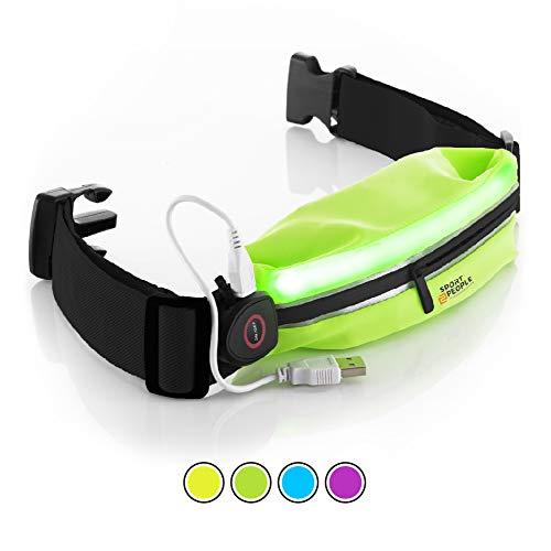 sport2people Laufen Gürteltasche für Herren und Damen - Laufgürtel Bauchtasche für iPhone 6, 7 Plus. Sport Hüfttasche Hände Frei Jogging, Laufen - Reflektierend Läufer Gürtel (Grün-schwarz LED)