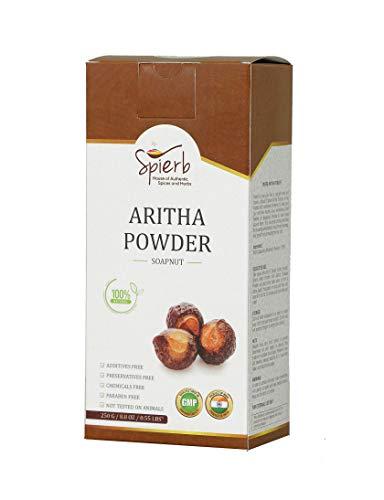 Spierb Aritha Pulver 250 gm - 100% natürliches Reetha Waschnuss (Sapindus Mukorossi) Ayurvedisches Pulver für glattes seidiges Haar - Ritha für DIY Shampoo und Conditioner - Areetha Powder aus Indien