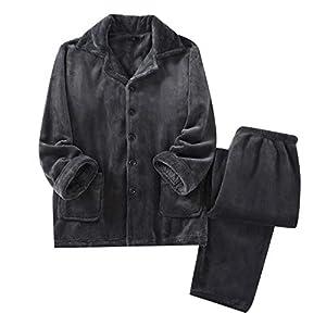 Setom パジャマ メンズ ルームウェア 衿付き 無地 部屋着 厚手 タオル地 ふわふわ 暖かい あったか 冬 M~XL お風呂上り ダークグレー フランネル (XL)