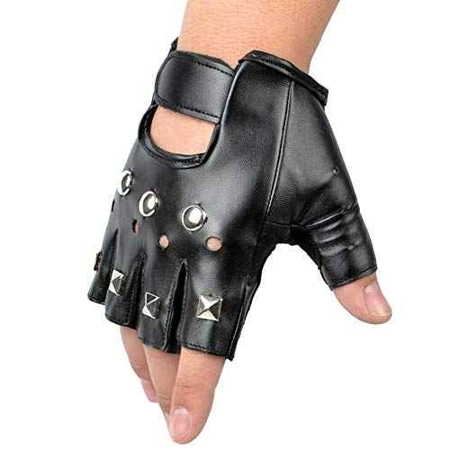 Ogquaton Retro Studded Fingerless Guante de Cuero Stud Fingerless Punk Gothic Performance Costume Gloves (Negro)
