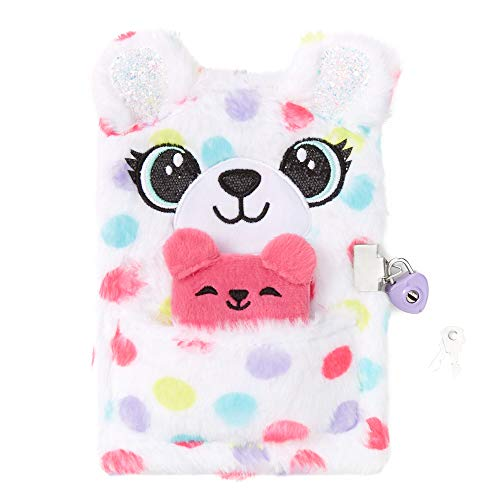 Claire s Fuzzy Plush Lock Diary Journal for Girls, Polka Dot Teddy Bear, White with Rainbow, Includes Lock with 2 Keys and Mini Notebook, 6x8 Inches