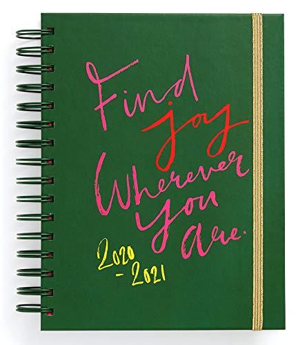 Ban.do 17 maanden 2020-2021 Medium Dagboek met wekelijkse en maandelijkse weergaven, gedateerd augustus 2020 - december 2021, Hardcover Self-Care Planner met stickers, doel/reflectiepaginas, Cool Art, Vreugde vinden