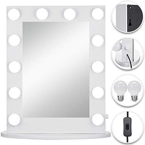 VEVOR Hollywood Spiegel 50 x 67,6 cm, Theater Spiegel Hollywood Weiß, Hollywoodspiegel mit 14 Einstellbaren Beleuchtungen, Kosmetikspiegel mit 2 Löchern und Knöpfen, für Badezimmer, Hinter der Bühne