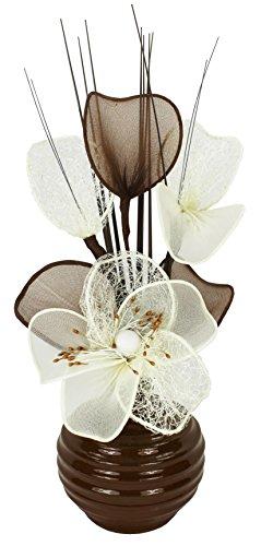 Flourish Kunstblumen im Topf Dekoration Wohnung Modern Deko Wohnzimmer, Geschenk, 32cm, Crème Braun