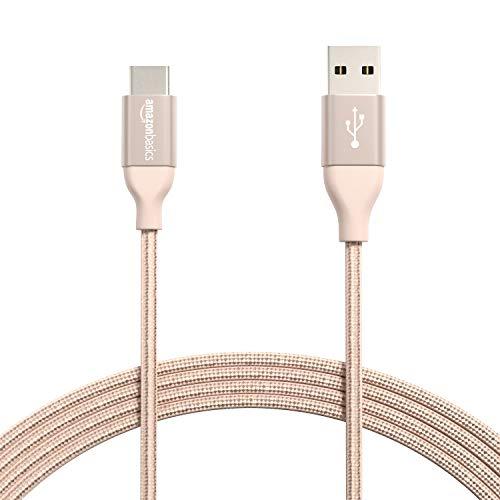 AmazonBasics - Cable macho de USB 2.0 C a USB 2.0 A, de nailon con trenzado doble | 3 m, Dorado