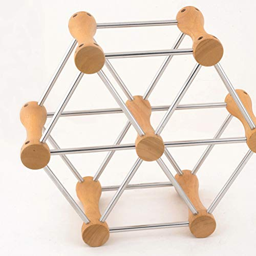ZAIZAI 1 estante de cocina hexagonal 304 acero inoxidable vino titular con marco de madera vino estante exhibición para 6 botellas