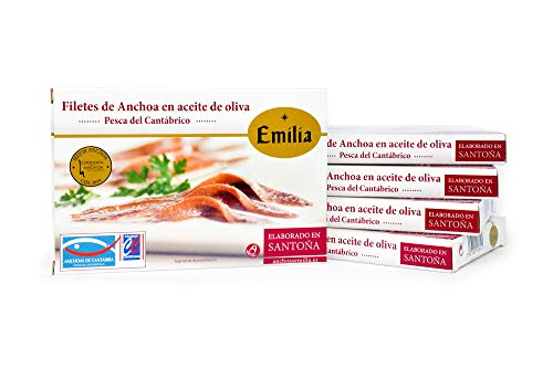 Anchoas de Santoña en aceite de oliva Emilia Serie Oro. Pack 5...