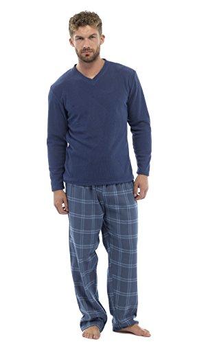 Herren 2-teilig Luxus Gesamtlänge Pyjama Set Warm Winter Thermo / Jersey Oberteil Luxus Flanell Lounge-hose Herren Jungen Pjs Pj Geschenk Größe s-XXL - Blau - Blue Check, Herren, XXL