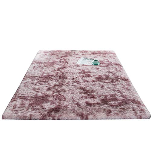 Yiqi Teppich Wohnzimmer Hochflor Shaggy Langflor Pflegeleicht für Wohnzimmer, Schlafzimmer, Flur oder Kinderzimmer (Grau Violett, 80 * 200cm)