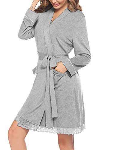 Hotouch Leichter Damen Bademantel Morgenmantel Kimono Saunamantel Neglige mit Taschen Loungewear Sleepwear mit Gürtel Grau M