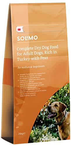 Marca Amazon - Solimo - Alimento seco completo para perro adulto rico en pavo con guisantes, 1 pack de 20 kg