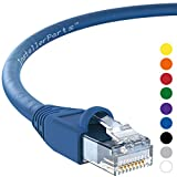 InstallerParts Ethernet Cable CAT6A Cable UTP Booted 50 FT - Blue - Professional Series - 10Gigabit/Sec Network/High Speed Internet Cable, 550MHZ
